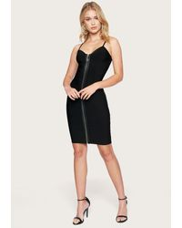 Bebe Zip Front Bandage Dress - Black