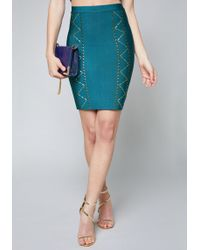 Bebe - Studded Bandage Skirt - Lyst