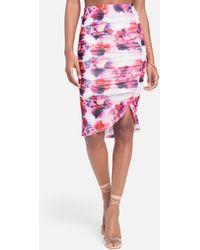 Bebe Printed Stretch Mesh Ruffle Skirt - Pink
