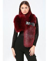 Bebe Buckle Faux Fur Scarf - Red