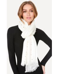 Bebe - Pearlescent & Bead Scarf - Lyst