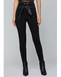 Bebe - Studded Tie Waist Leggings - Lyst