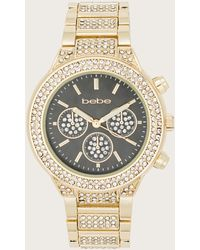 Bebe Crystal Gray Dial Watch - Metallic