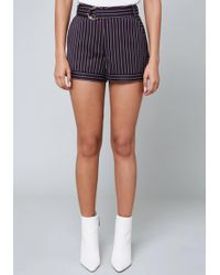 Bebe - Anna Striped Shorts - Lyst