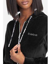 Bebe Logo Velour Zip Up Jacket - Black