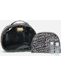 Bebe Black And Silver Logo Cosmetic Bag