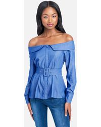 Bebe Belted Off The Shoulder Chambray Top - Blue
