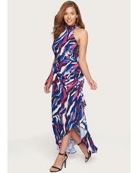 Bebe Lana Print Ruffled Maxi Dress - Blue