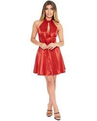 Bebe Satiny Tie Neck Flare Dress - Red