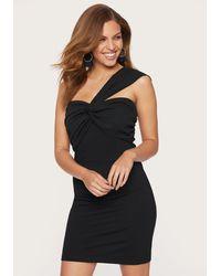 Bebe Twist Front One Shoulder Dress - Black