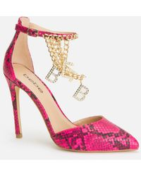 Bebe Decor Ankle Strap Heels Shoe - Pink