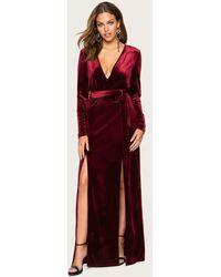 Bebe Velvet Double Slit Maxi Dress - Red