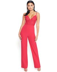 Bebe - Embroidered Lace Jumpsuit - Lyst