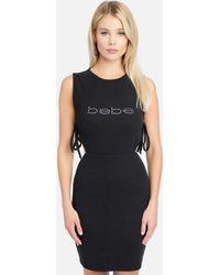 Bebe Side Cut Out Tie Dress - Black