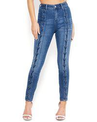 Bebe Lace Up Skinny Jeans - Blue
