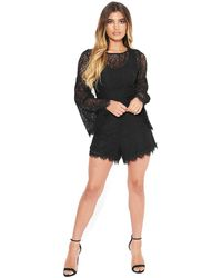 Bebe Lace Flare Sleeve Romper - Black