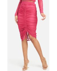Bebe 4 Way Stretch Mesh Ruched Skirt - Pink