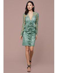 Bebe Ruffled Lace Pencil Dress - Green