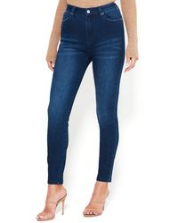 Bebe Back V-stitch Skinny Jeans - Blue