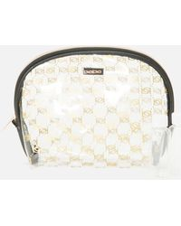 Bebe Silver And Gold Check Cosmetic Bag - Metallic