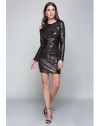 Bebe | Sequin Cold Shoulder Dress | Lyst