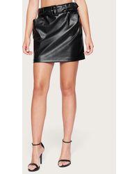 Bebe Faux Leather Belted Skirt - Black