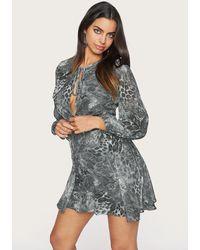 Bebe Leopard Print Keyhole Dress - Gray