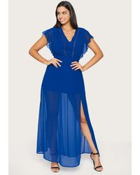 Bebe Pom-pom Detail Maxi Dress - Blue