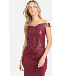 Bebe Vegan Leather Off Shoulder Top - Red