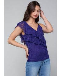 Bebe - Lace One Shoulder Top - Lyst