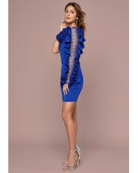Bebe Logo Ruffle Trim Mini Dress - Blue