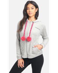 Bebe Logo Zip Up Hoodie - Grey