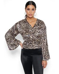 Bebe Leopard Print Bell Sleeve Top - Multicolour