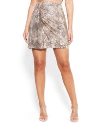 Bebe Mixed Sequence Mini Skirt - Metallic