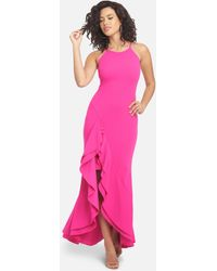 Bebe Flounce Strappy Maxi Dress - Pink