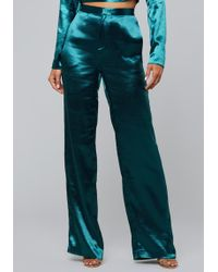 Bebe - Hammered Satin Trousers - Lyst