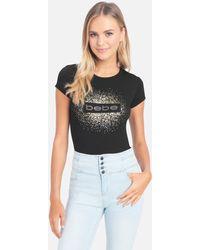 Bebe Logo Foil Screen Tee Shirt - Black