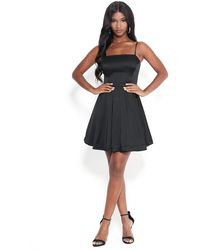Bebe Satin Flared Dress - Black