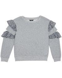 Bebe Girls Ruffled Cutout Fleece Top - Grey