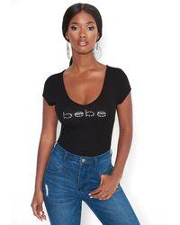 Bebe Swarovski Logo Short Sleeve V-neck Tee Shirt - Black