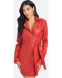 Bebe Faux Leather Moto Jacket Dress - Red