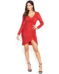 Bebe Shiny Ruched Knit Dress - Red