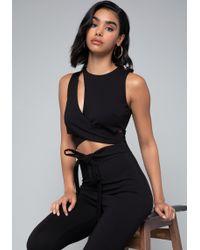Bebe - Cutout Wrap Jumpsuit - Lyst
