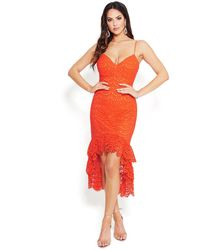 Bebe Lace High Low Dress - Red