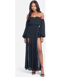 Bebe Front Slit Maxi Dress - Black