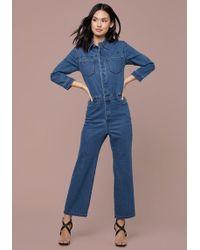 Bebe Denim Crop Boiler Suit - Blue
