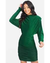 Bebe Long Sleeve Lurex Ruched Dress - Green