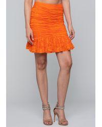 Bebe - Shirred Lace Mesh Skirt - Lyst