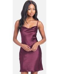 Bebe Satin Cowl Neck Slip Mini Dress - Purple