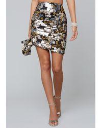 Bebe - Metallic Ruched Miniskirt - Lyst